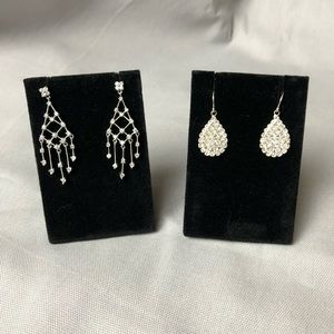 Silver tone bling earrings 2 pairs